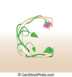 floral, vendimia,  C, carta, patrón
