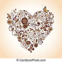 floral, vendimia, corazón