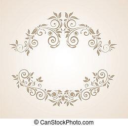 floral, vendimia, marco