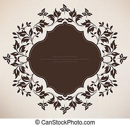floral, vendimia, marco, ornamento