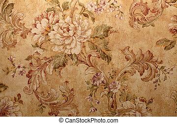 floral, vendimia, pauta papel pintado