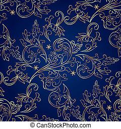 floral, vendimia, seamless, patrón, en, fondo azul