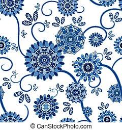 floral, vendimia, seamless, patrón