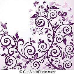 floral, vendimia, tarjeta, violeta