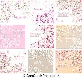 floral, vendimia, tarjetas