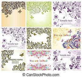 floral, vendimia, tarjetas, saludo