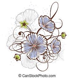 floral, vendimia, vector, diseño