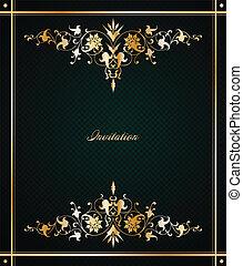 floral, vendimia, vector, frame.
