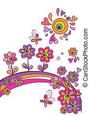 floral, verão, abstratos, cartaz