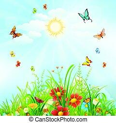 floral, verão, fundo