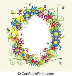 floral, verão, ilustração, quadro