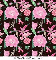 floral, verão, padrão, fundo, marrom