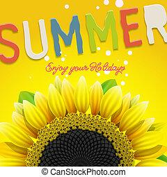floral, verano, plano de fondo, girasol
