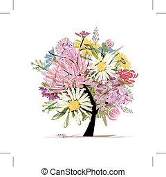 floral, verano, ramo, forma corazón, para, su, diseño