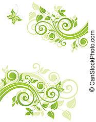 floral, verde, bandeira