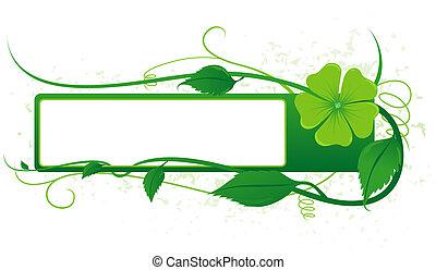 floral, verde, bandera