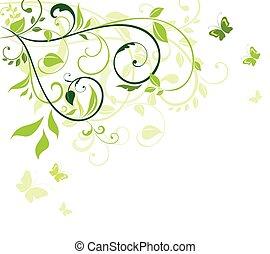 floral, verde, cartão