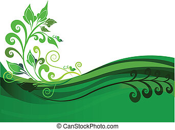 floral, verde, desenho, fundo