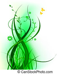 floral, verde, desenho