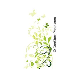floral, verde, frontera