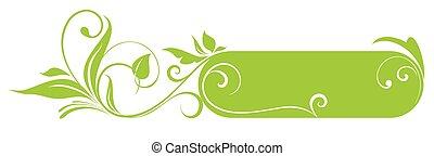 floral, verde, marco