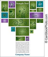 floral, verde, página