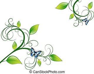 floral, verde, quadro, folha
