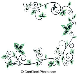 floral, verde, vendimia, frontera