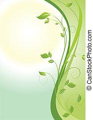 floral, vert, bannière, vertical