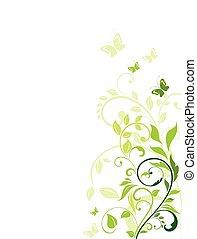 floral, vert, frontière