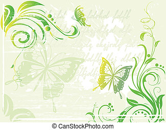 floral, vert, grunge, fond, élément
