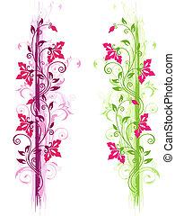 floral, vert, ornement, violet