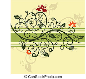 floral, vert, vecteur, conception, illustration