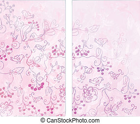 Floral vertical banners with birds and berries set
