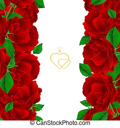 Floral vertical border seamless background with blooming purple roses  vector.eps