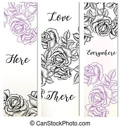 Floral vertical brochures set with hand drawn rose flowers.eps