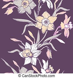 Floral vertical seamless border with hand drawn flowers daffodils, narcissus.