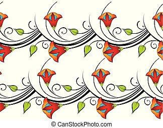 floral, vetorial, borda, seamless
