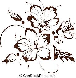 floral, vetorial, desenho, ilustração
