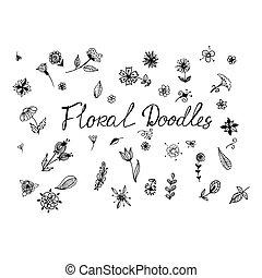 floral, vetorial, doodles, ilustração