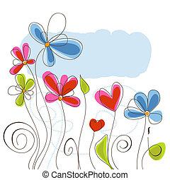floral, vetorial, fundo, ilustração