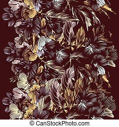 floral, vetorial, fundo, seamless, w