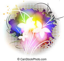 floral, vetorial, grunge, fundo