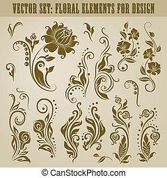 floral, vetorial, jogo, elementos