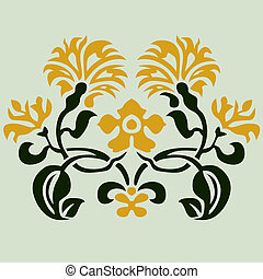 floral, vetorial, ornamento