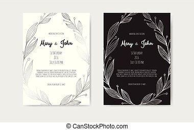 floral, vetorial, prata, elements., convite