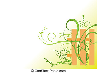 floral, vetorial, verde, ilustração
