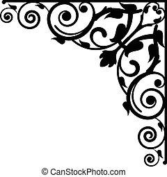 floral, vetorial, vignette