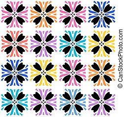 floral, vibrante, colorido, seamless, padrão