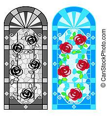 floral, vidrio, manchado, windows